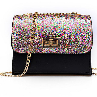 Women's Bags PU Crossbody Bag for Outdoor Black / Rainbow