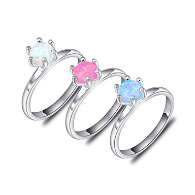 Men's Women's Unisex Statement Ring Crystal Blue Pink Synthetic Gemstones Silver Circle Geometric Classic Birthstones Fashion Party