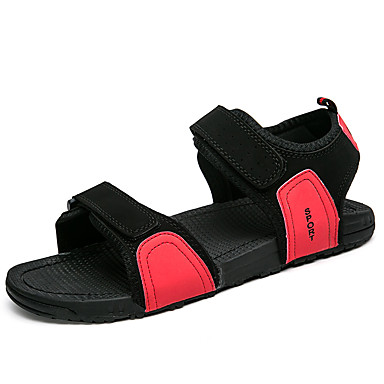 Men's Shoes PU Summer Comfort Sandals for Casual Black Gray Red