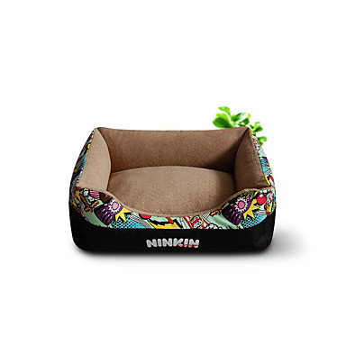 Dog Bed Pet Mats & Pads Geometric Flower/Floral Warm Soft Coffee Red Green Blue Pink For Pets