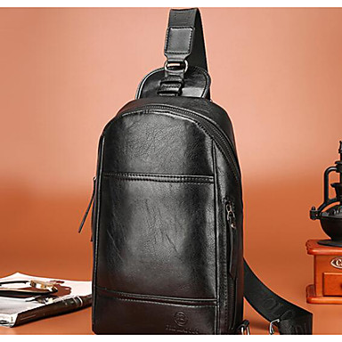 Men Bags All Seasons Cowhide Sling Shoulder Bag for Casual Outdoor Black Brown Dark Brown
