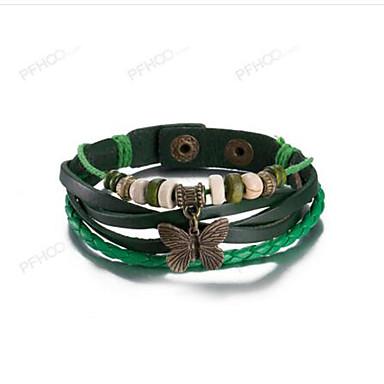 Men's Women's Leather Bowknot Leather Bracelet - Vintage Bowknot Green Bracelet For Dailywear