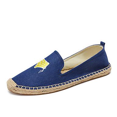 Mulheres Sapatos Jeans Algodão Verão Outono Solados com Luzes Alpargata Mocassim Mocassins e Slip-Ons Sem Salto Ponta Redonda Apliques