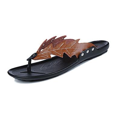 Homens sapatos Couro Ecológico Primavera Verão Solados com Luzes Chinelos e flip-flops Caminhada Tachas para Casual Preto Marron Castanho