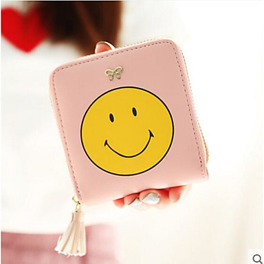 Women Coin Purse PU All Seasons Casual Outdoor Round Zipper Blue White Blushing Pink