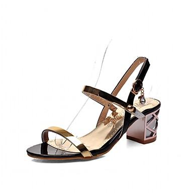 Mulheres Sapatos Sintético Couro Ecológico Verão Outono Conforto Inovador Sandálias Caminhada Salto Robusto Peep Toe Presilha para