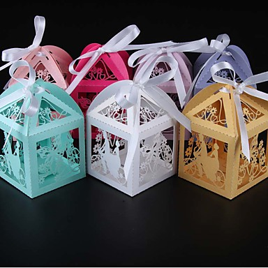 Round / Square / Cuboid Pearl Paper Favor Holder with Ribbons / Printing Favor Boxes - 50