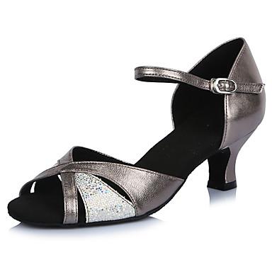 Women's Latin Paillette Glitter Leatherette Sandal Heel Indoor Sparkling Glitter Buckle Splicing Stiletto Heel Silver Gray 2