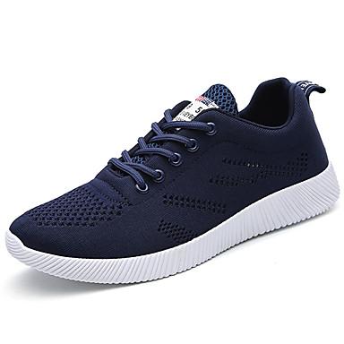 Homens sapatos Couro Ecológico Primavera Outono Conforto Tênis Caminhada Cadarço para Casual Preto Cinzento Azul