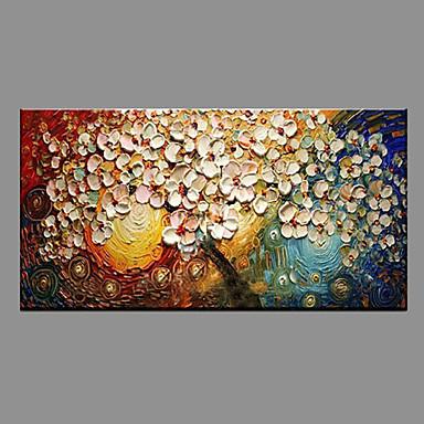 Maalattu Kukkakuvio/Kasvitiede Vaakatasoinen panoraama, Moderni/nykyaikainen Kangas Hang-Painted öljymaalaus Kodinsisustus 1 paneeli