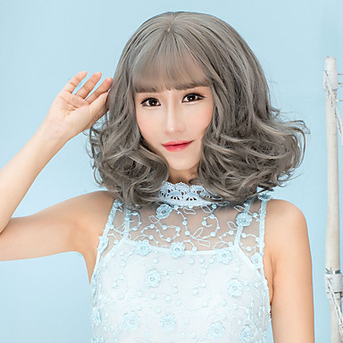 Synthetic Wig Curly Bob Haircut / With Bangs Synthetic Hair Brown / Gray Wig Women's Short Capless