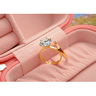 Women's Ring - Cubic Zirconia, Titanium Steel, Gold Plated Classic, Elegant Jewelry Gold / Silver / Champagne For Wedding Anniversary Party Evening Engagement Ceremony 6 / 7 / 8 / 9