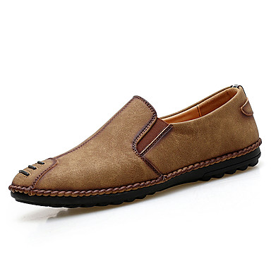 Men's Shoes Leather PU Spring Fall Comfort Driving Shoes Loafers & Slip-Ons for Casual Black Light Brown Khaki