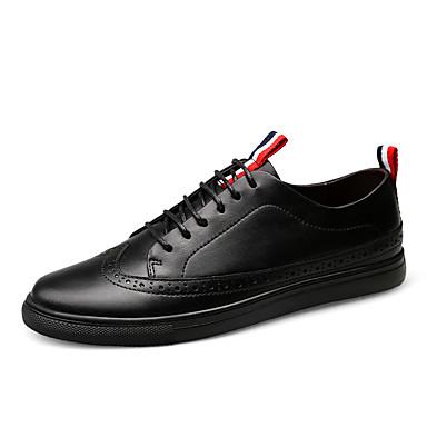 Homens sapatos Couro Inverno Outono Conforto Tênis Cadarço para Casual Festas & Noite Preto