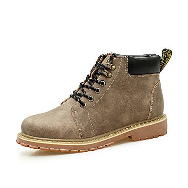 Herre sko Lær PU Vår Høst Komfort Kampstøvler Støvler Ankelstøvler Snøring til Avslappet Svart kaffe Lysebrun
