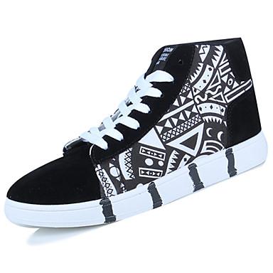 Homens sapatos Couro Ecológico Primavera Outono Conforto Tênis para Ao ar livre Branco Azul Branco/Preto