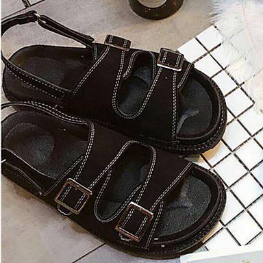 Naisten Kengät PU Kevät Comfort Sandaalit varten Kausaliteetti Musta Vihreä