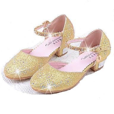 Para Meninas Sapatos Couro Ecológico Primavera Verão Conforto / Sapatos para Daminhas de Honra Rasos Pedrarias / Lantejoulas para Prata /