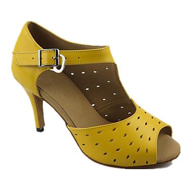 Mulheres Sapatos de Dança Latina Couro Sandália Salto Agulha Personalizável Sapatos de Dança Amarelo / Espetáculo
