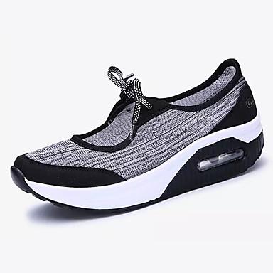 Mulheres Sapatos Tule Verão Conforto Tênis Sem Salto Ponta Redonda Combinação para Casual Escritório e Carreira Preto Cinzento