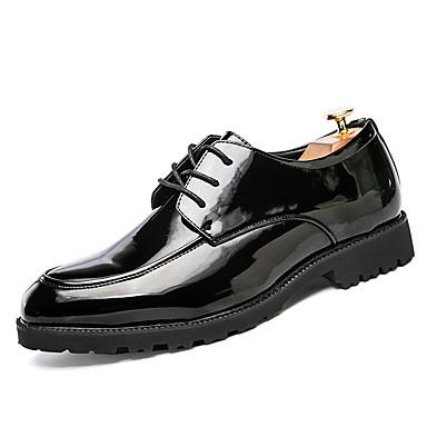 Homens sapatos Couro Ecológico Primavera Outono Conforto Oxfords Cadarço para Casual Preto Vermelho