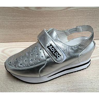 Dame Sandaler Komfort Lær Vår Sommer Avslappet Komfort Hvit Sølv Flat