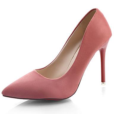 Mulheres Sapatos Couro Envernizado Verão Conforto Sandálias Caminhada Salto Agulha Dedo Apontado Presilha Preto / Verde / Rosa claro