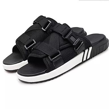 Homens sapatos Couro Ecológico Verão Sandálias Caminhada Branco / Preto