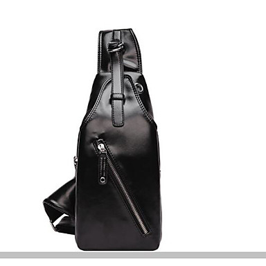 Men Sling Shoulder Bags PU All Seasons Casual Outdoor Round Zipper Black