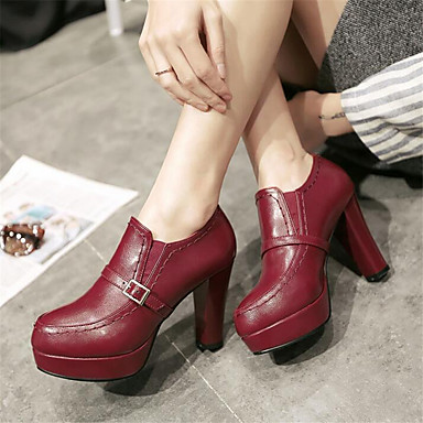 Women's Shoes PU Spring Comfort Boots Chunky Heel For Casual Beige Burgundy