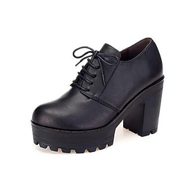 Női Mikroszálas Tavasz / Ősz Formai cipő Magassarkúak Vaskosabb sarok Kerek orrú Fekete