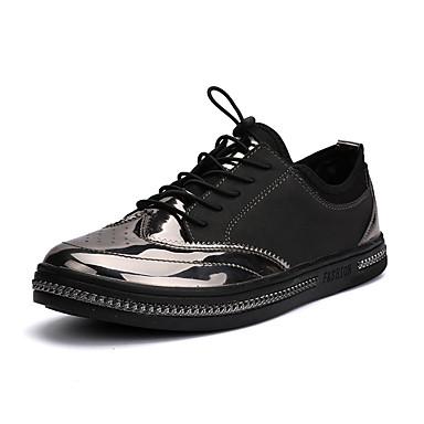 Miesten kengät PU Kevät Kesä Valopohjat Lenkkitossut Solmittavat varten Kausaliteetti Musta Ruskea