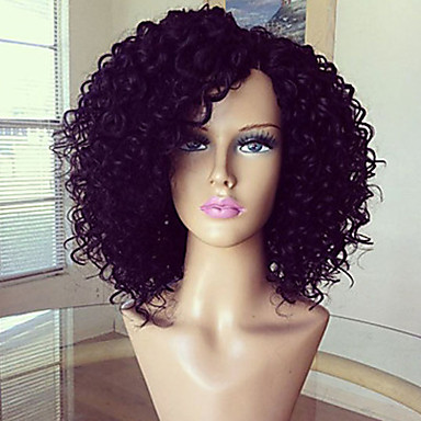 Aidot hiukset Lace Front Peruukki Kinky Curly 180% Tiheys 100% käsinsidottu Afro-amerikkalainen peruukki Luonnollinen hiusviiva Lyhyt
