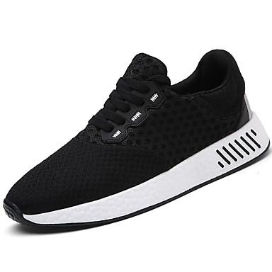 Herre sko Tyll Vår Høst Lette såler Komfort Sportssko Løp Snøring til Atletisk Avslappet utendørs Svart Grå Blå