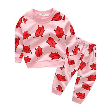 3d1edc14337 Μωρό Κοριτσίστικα Κινούμενα σχέδια Βαμβάκι / Αργίες / Εξόδου Ζώο /  Κινούμενα σχέδια Μακρυμάνικο Κανονικό Κανονικό 100% Βαμβάκι Σετ Ρούχων  Ανθισμένο Ροζ / ...
