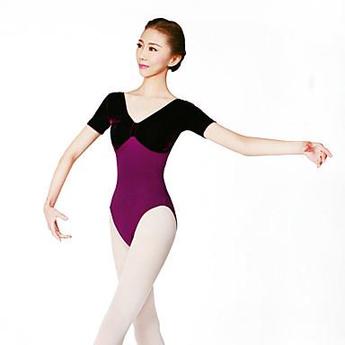 Ballett Trikoter Dame Trening Spandex Kordfløyel 1 Deler Kort Erme Høy Trikot