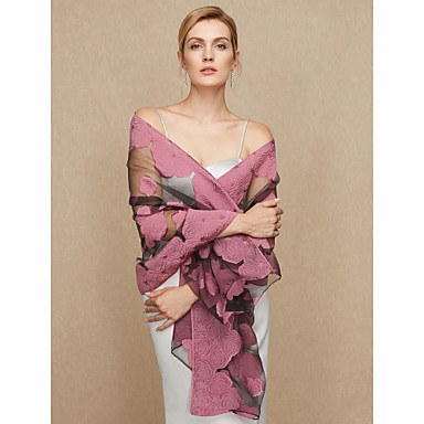 Chiffon Wedding / Party / Evening Women's Wrap With Appliques / Floral / Flower Shawls