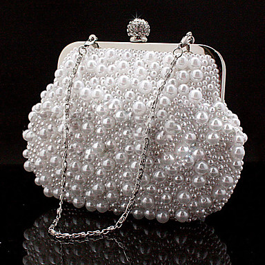 Women's Bags Special Material Evening Bag Rhinestone / Chain White / Black / Beige