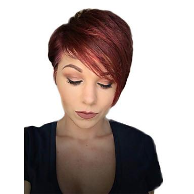 Human Hair Capless Parykker Ekte hår Rett Klassisk Høy kvalitet Maskinprodusert Parykk Daglig