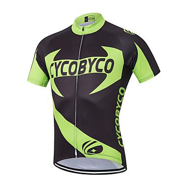 Men's Short Sleeve Cycling Jersey - Black / Green Floral / Botanical Bike Jersey, Quick Dry Polyester, Coolmax®, Lycra