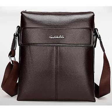 Men Bags All Seasons Cowhide Shoulder Bag for Casual Outdoor Black Brown Dark Brown