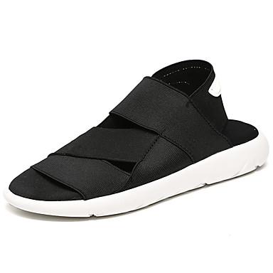 Homens sapatos Borracha Verão Conforto Sandálias para Ao ar livre Preto Branco/Preto
