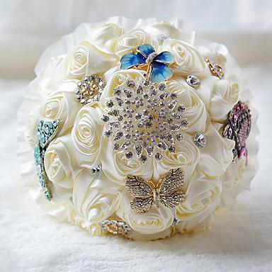 Wedding Flowers Bouquets Wedding Chiffon Bead Satin 11.8