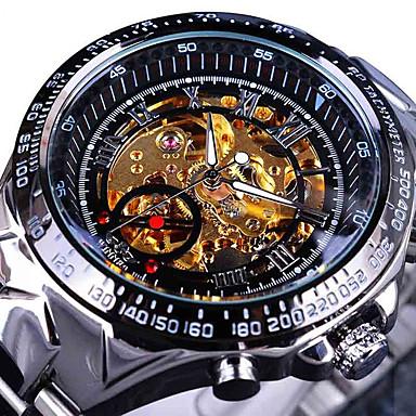 levne Mechanické hodinky-Pánské Hodinky s lebkou Náramkové hodinky  mechanické hodinky Automatické natahování Nerez Stříbro d213bc5be8