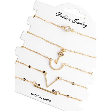 Mulheres Zircão Prata Chapeada Pulseiras em Correntes e Ligações - Amizade Fashion Forma Geométrica Dourado Pulseiras Para Presentes de