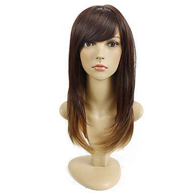Long Straight Brown Ombre Natural Wigs for Women Costume Cosplay Synthetic Wigs