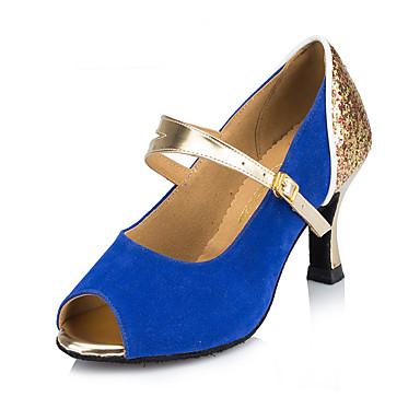 Women's Latin Nubuck leather Heel Indoor Buckle Blue Blushing Pink 2