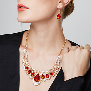 cheap Jewelry Sets-Women's Synthetic Ruby Jewelry Set - Imitation Diamond Drop Ladies, Luxury, European, Fashion, Elegant Include Drop Earrings Statement Necklace Earrings Bib necklace Blue / Rainbow / Champagne For
