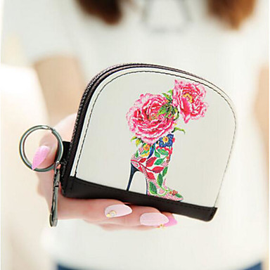 Women Coin Purse PU All Seasons Casual Outdoor Round Zipper White Red