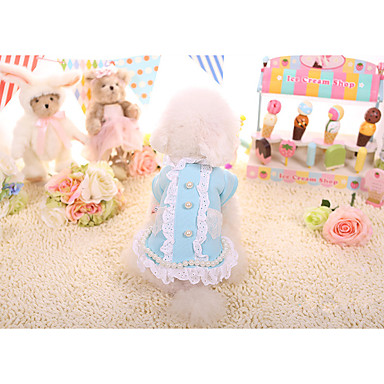 Dog Coat Dog Clothes Casual/Daily Lace Yellow Blue Blushing Pink
